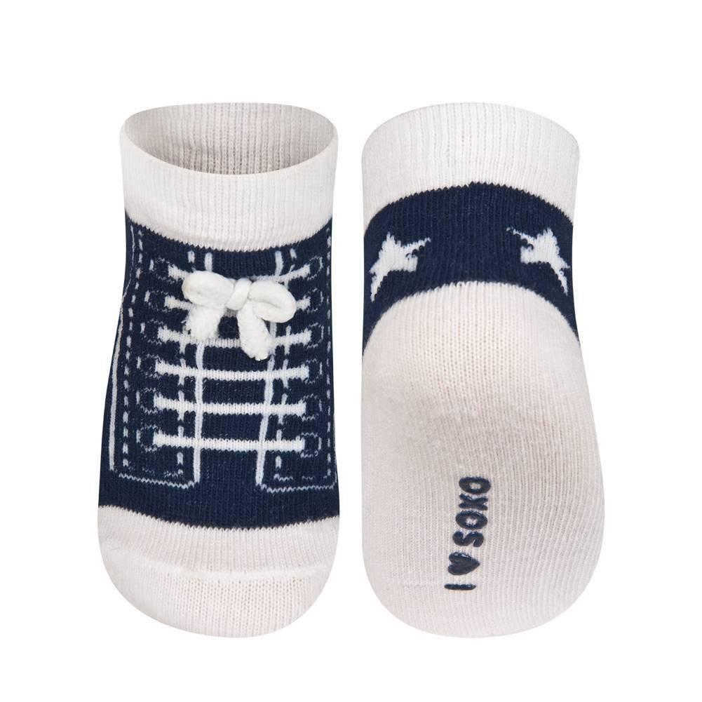 socken baby junge soxo turnschuhe gr n marineblau baby socken klassisch baby socken. Black Bedroom Furniture Sets. Home Design Ideas