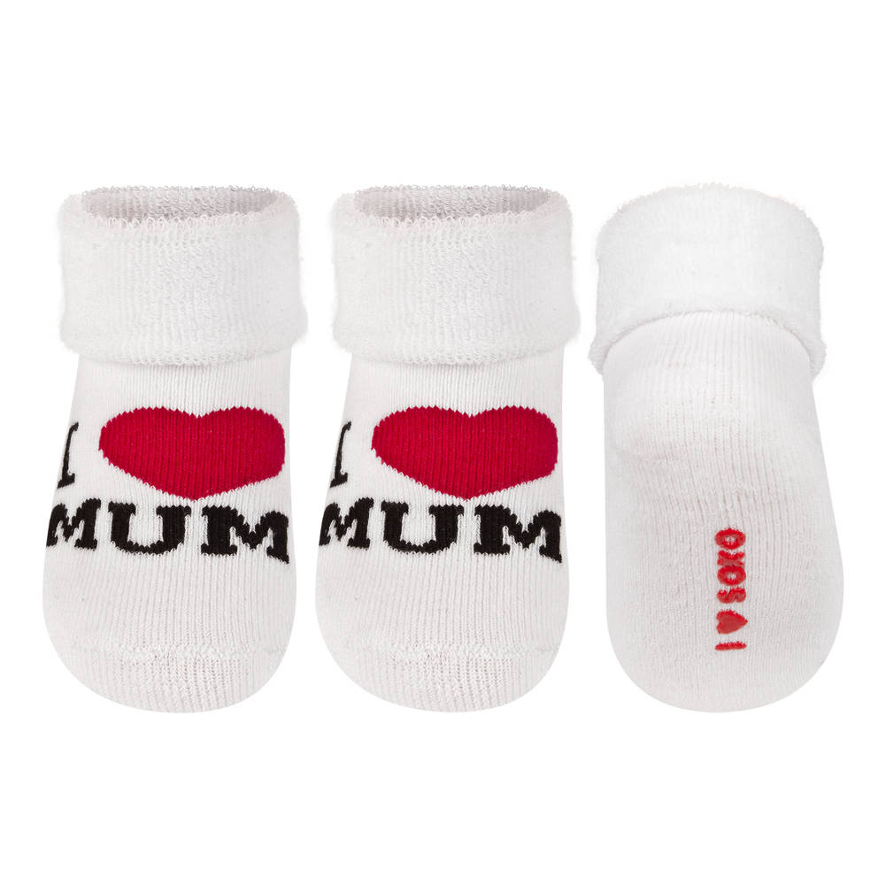 soxo baby frotte socken i love mum wei baby socken mama papa soxo socken hausschuhe. Black Bedroom Furniture Sets. Home Design Ideas