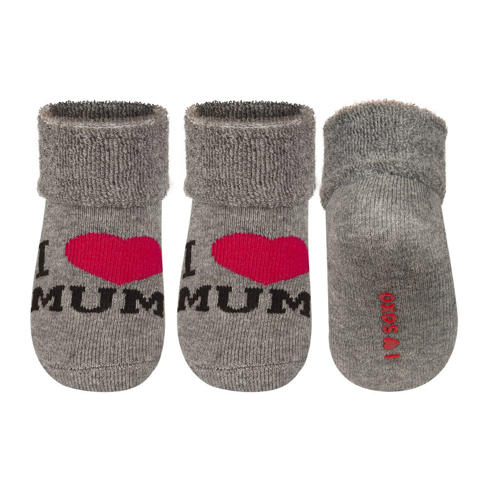soxo baby frotte socken i love mum grau baby socken mama papa soxo socken hausschuhe. Black Bedroom Furniture Sets. Home Design Ideas