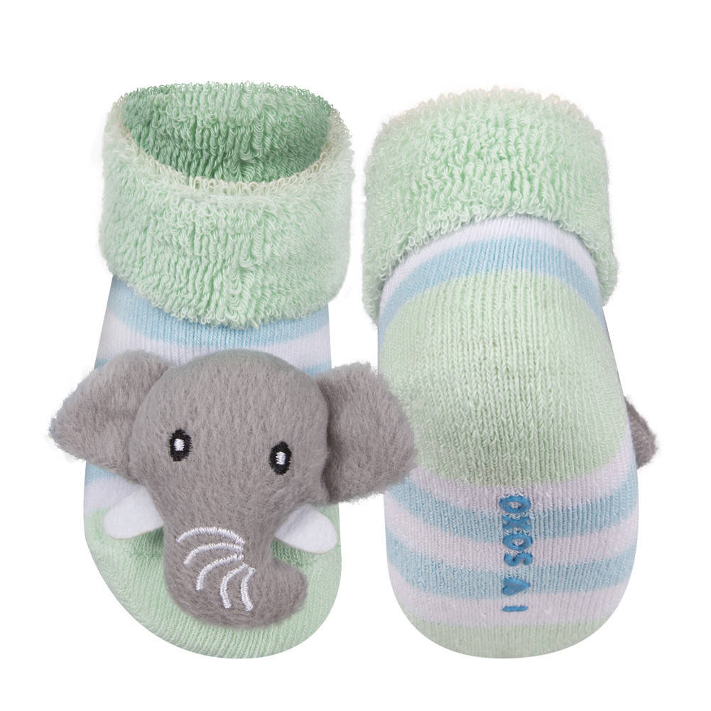 soxo baby socken mit rassel mit elefant baby socken rassel soxo socken hausschuhe. Black Bedroom Furniture Sets. Home Design Ideas