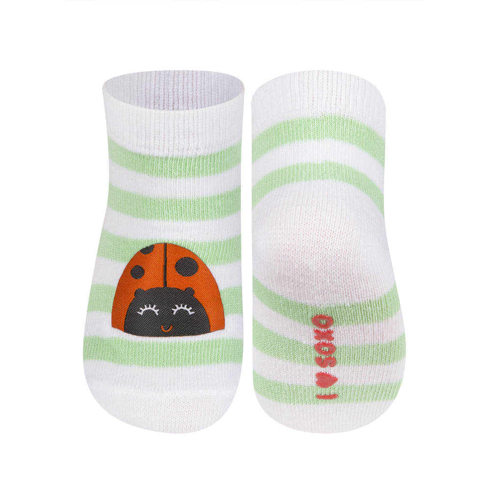 soxo baby gestreiffte socken mit fleck mit marienk fer baby socken klassisch soxo. Black Bedroom Furniture Sets. Home Design Ideas